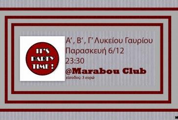 Πάρτι από το Λύκειο Γαυρίου στο Marabou Club