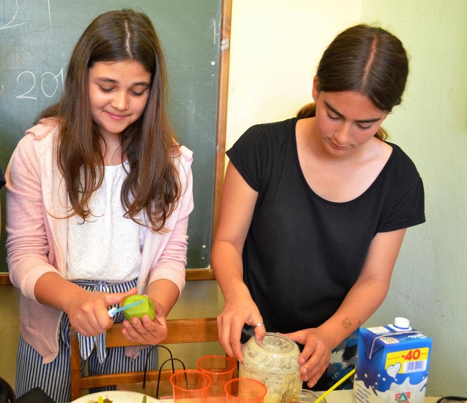 Πολλά φρούτα και μέλι για να φτιάξουμε φυσικούς χυμούς ! μπράβο στα κορίτσια !