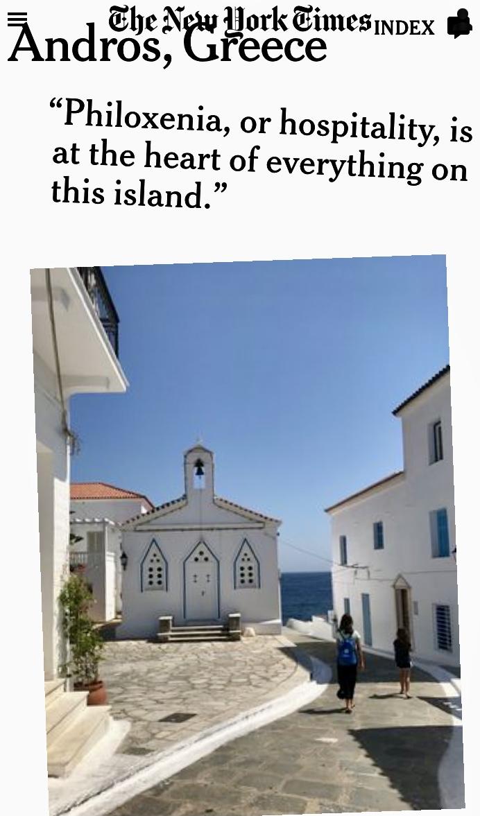 Η Άνδρος, μοναδικός Ελληνικός προορισμός στη λίστα των New York Times για το 2021!